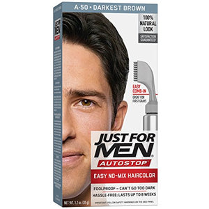 Just For Men AutoStop Haircolor, Darkest Brown A-50 - 1 ea.