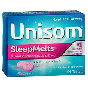 Unisom Quick Sleepmelts Night Time Sleep aid, Cherry - 24 ea