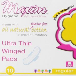 Maxim Hygiene - Individually Wrapped Cotton Pads Ultra Thin Winged Daytime Unscented - 10 Count