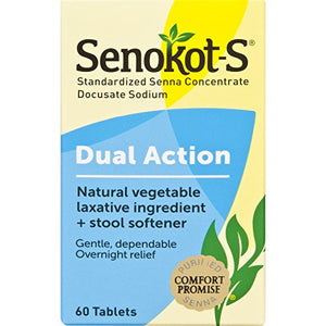 Senokot-S Natural Vegetable Laxative Ingredient Tablets Plus Stool Softener - 60 ea