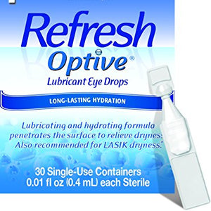 Refresh Optive Sensitive Preservative Free Lubricant Eye Drops, Single Use - 30 ea