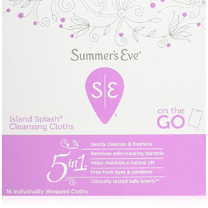 Summers Eve Cleansing Cloth for Sensitive Skin, Island Splash - 16 ea.