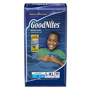 GoodNites Boys Bedtime underwear jumbo 60 to 125 plus lbs, large/Extra large - 11 ea, 4 pack.