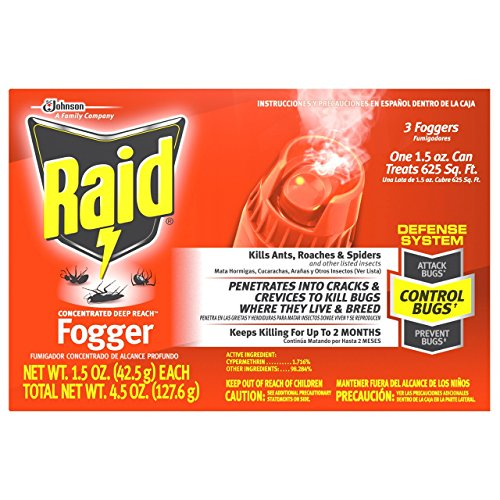 Raid Concentrated Deep Reach Fogger,3 Packs - 168gm ea
