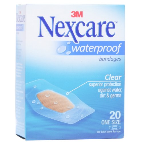 Nexcare waterproof clear bandages, 1 X 2.25 Inches, 20/pack