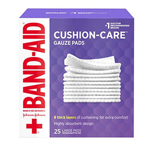 Johnson & Johnson Band Aid First Aid Gauze Pads, Large, 4 Inch x 4 Inch - 25 ea