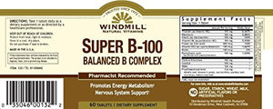 Windmill Super B-100 Balance B Complex Tablets - 60 ea