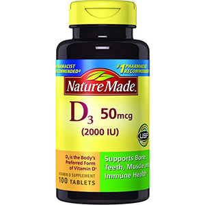 Nature Made Vitamin D3 2000 IU Tablets - 100 ea