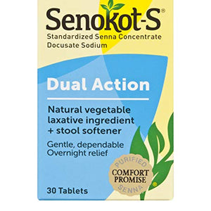 Senokot - S Natural Vegetable Laxative Ingredient Tablets Plus Stool Softener - 30 ea