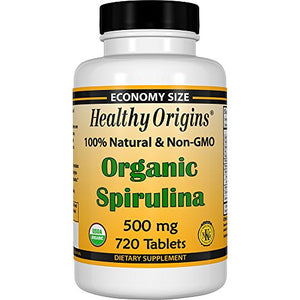 Healthy Origins, Organic Spirulina, 500 mg, 720 Tablets.