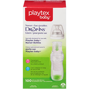 Playtex Nurser System Drop Ins Disposable Bottle Liners - 8 oz, 100 Per Pack