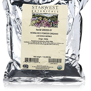 Starwest Botanicals, Organic Henna Powder, Red -  1 lb