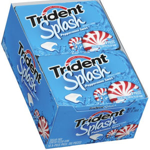 Trident Sugar Free Chewing Gums Splash Peppermint Swirl - 9 Sticks, 10 / Pack