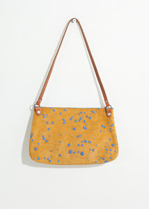 Ink Splatter Shoulder Bag in Mustard/Blue