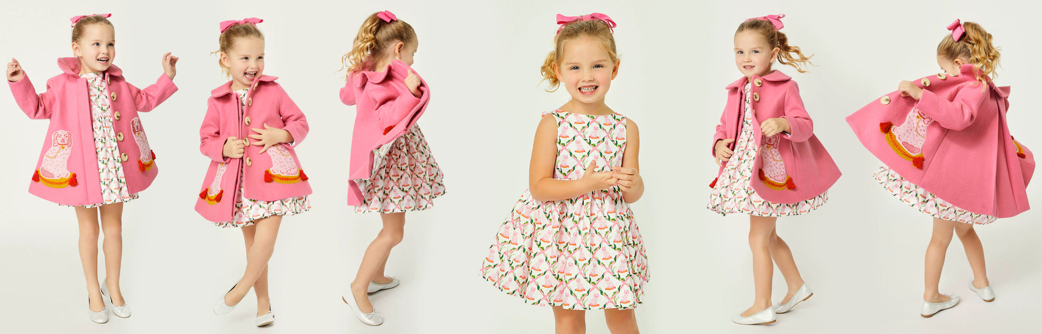 Little Goodall Pink Coat Cotton Bow Back Dress for Little Girls