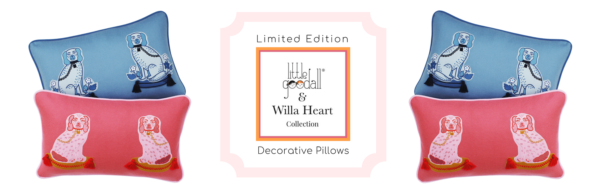 Willa Heart x Little Goodall Pink and Blue Pillows for Children's Room Decor