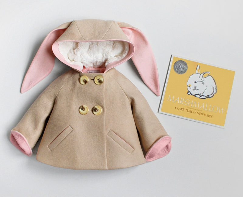 Little Goodall Luxe Bunny Coat and Marshmallow Book by Claire Turlay Newberry