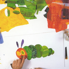 Eric Carle demonstrates making a collage from colored tissues