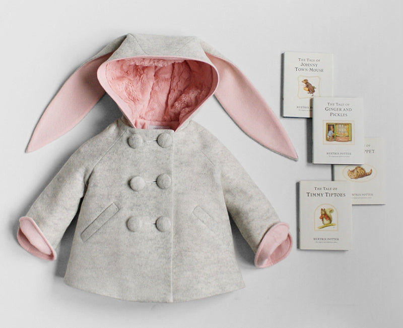 Six Button Bunny Coat and Beatrix Potter Books