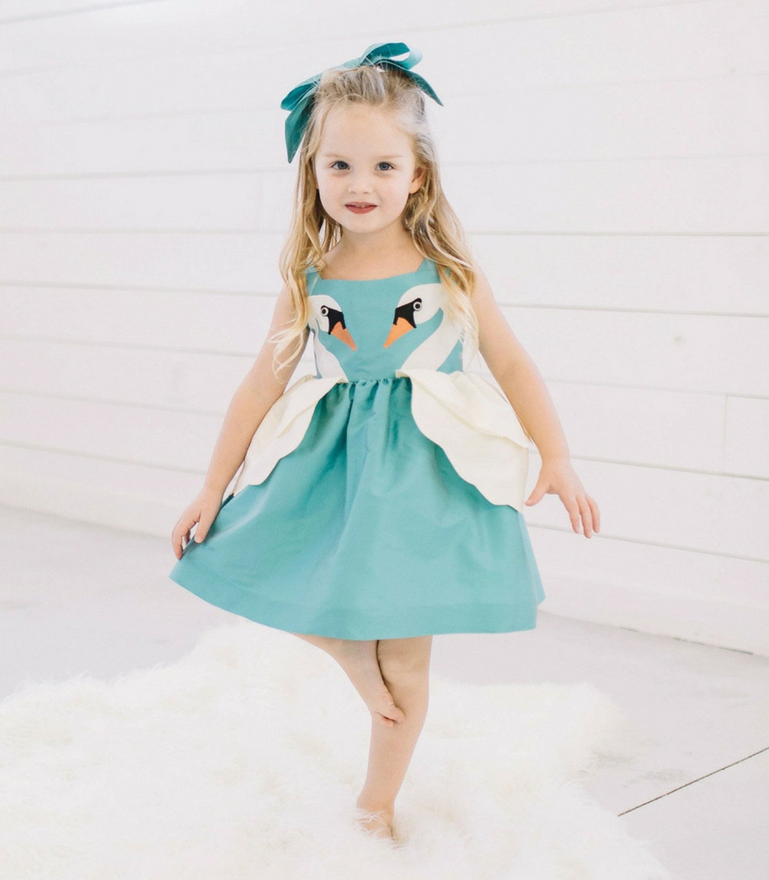Little Goodall Girls Swan Spring Summer Collection Girls Dress
