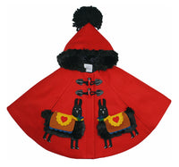 red wool coat with black, saddled alpacas. Including, two toggles to close the front and completed black lining and a black pompom on the hood.