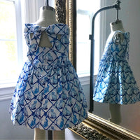 Bow Back Dress in Aldrich & Madame De Bleu Print: Little Goodall + Willa Heart Collection