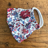 Ladies Cotton Mask in Christelle Red and Blue Liberty London Print