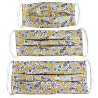 Cotton Mask in Cool Cats Yellow Liberty London Print