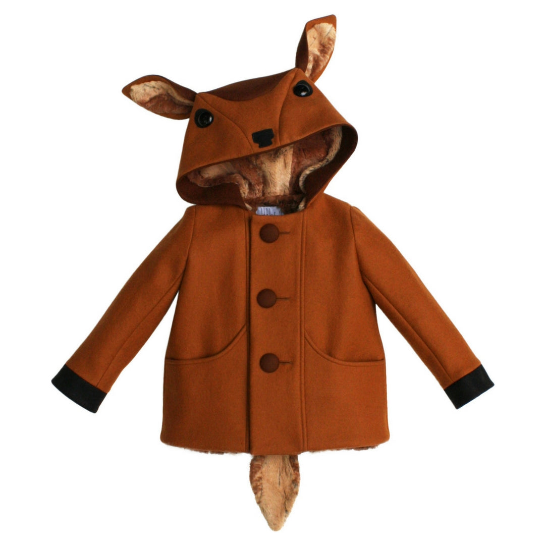 Brown wool coat with a fawn head as a hood and includes a soft tail in the back.