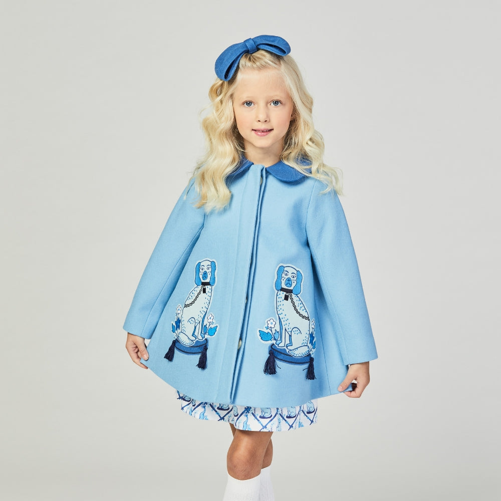 Girls Blue Wool Coat with two dogs