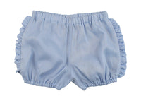 Sky Blue Linen Frilly Shorts