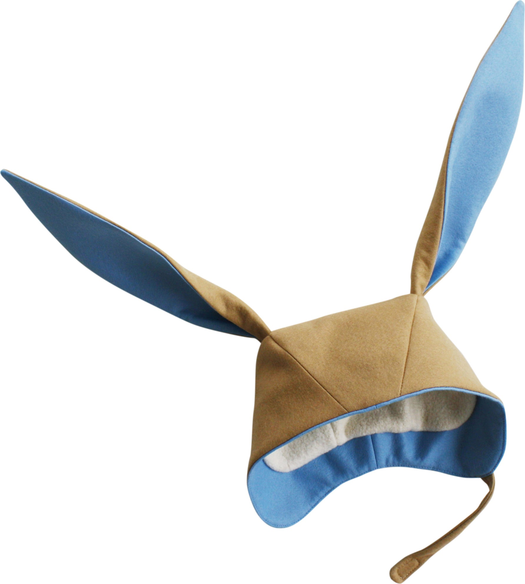 Tan Bunny hat with blue lining in bunny ears and the rim of the hat. The inside is lined with soft white fleece.