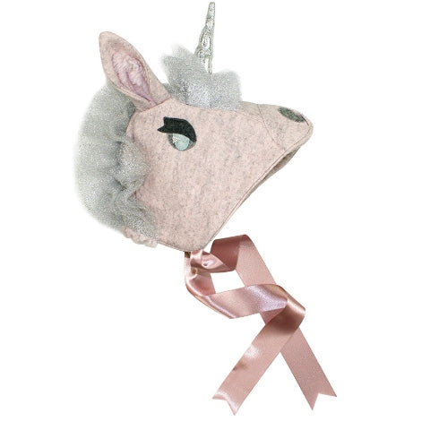 Pink Unicorn hat with silver eyes, tool mane, and horn. Along with pink silk ribbon to tie at the bottom.