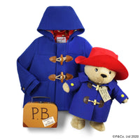 "Luxe Paddington Gift Set: Classic Wool Duffle Coat with 16"" Soft Toy and Suitcase"