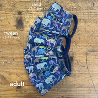 Cotton Mask in Navy Queue for the Zoo Liberty London Print