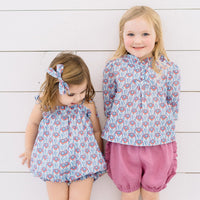 Periwinkle Bloom Bubble Romper-littlegoodallcom-Little Goodall Unique Designer Childrenswear for Boys and Girls