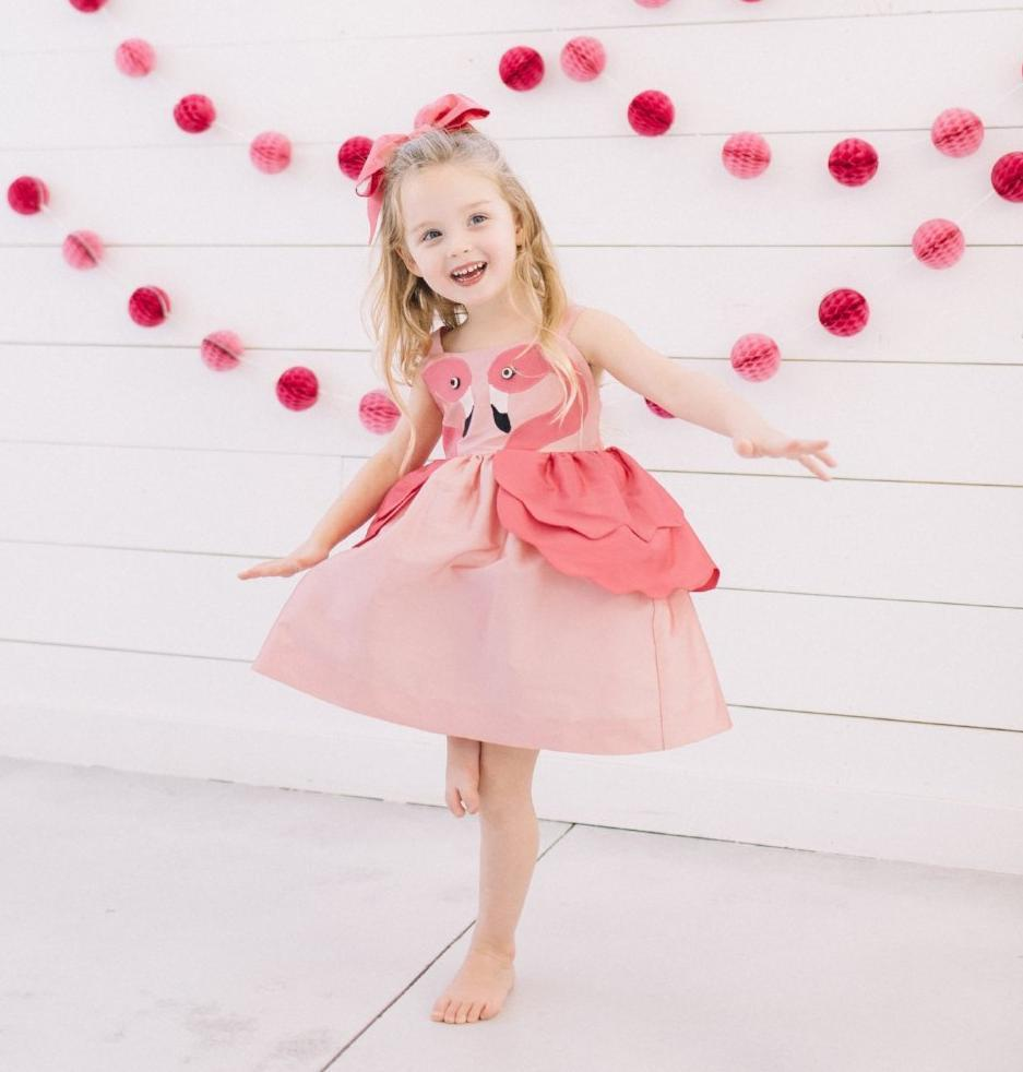 Pink Flamingo Dress-littlegoodallcom-Little Goodall Unique Designer Childrenswear for Boys and Girls