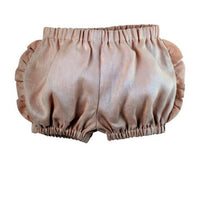 Shell Pink Linen Frilly Shorts-littlegoodallcom-Little Goodall Unique Designer Childrenswear for Boys and Girls