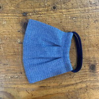 Adult Cotton Mask in Blue Herringbone Flannel