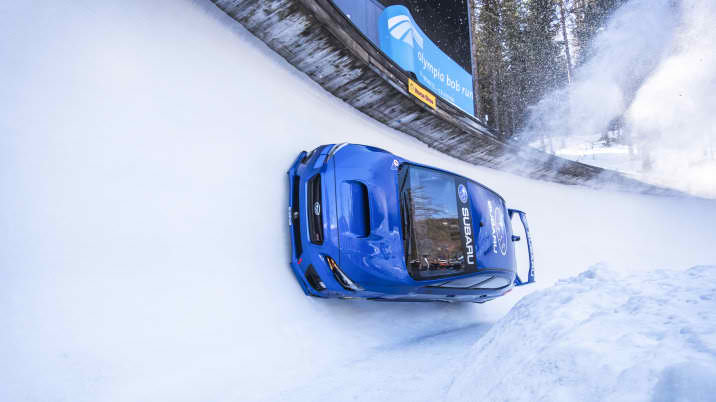 James Bond stuntman races Subaru WRX STI down Olympic bobsled run [video]