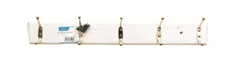 Hat and Coat Rack 5 Hook White