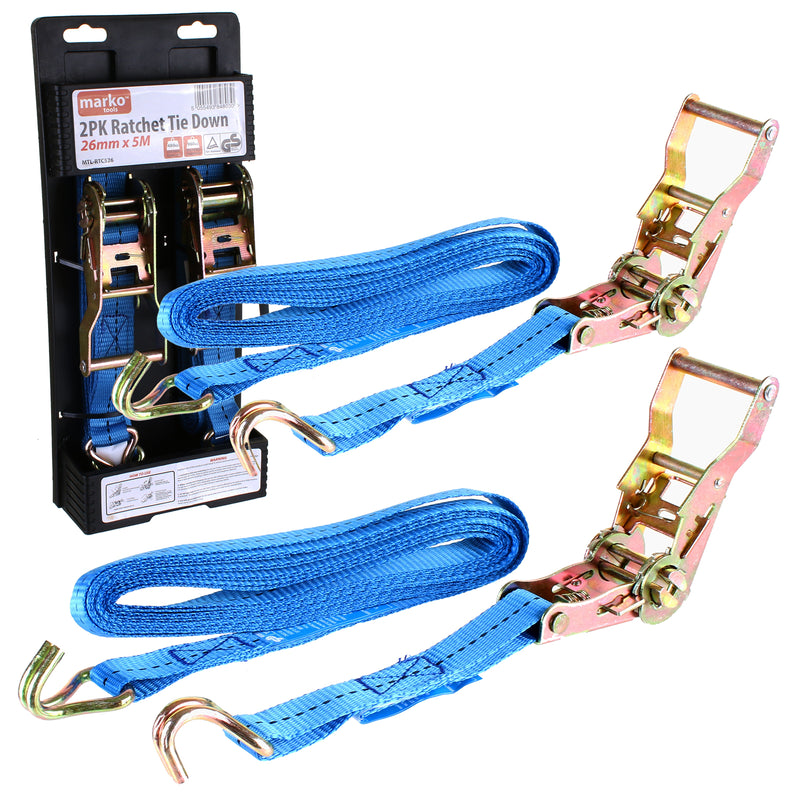 2PK Ratchet Tie Down - 26mm x 5M