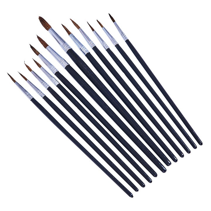 12pc Fine Pointed Tip Art Brush Set