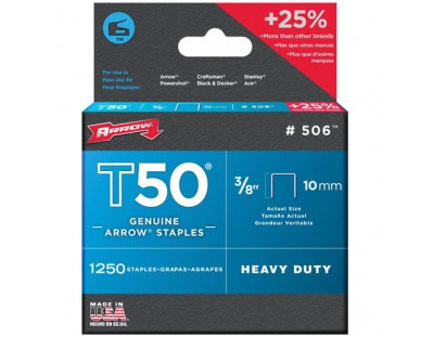 "Arrow T50 Staples 10mm 3/8"" Pack of 1250"