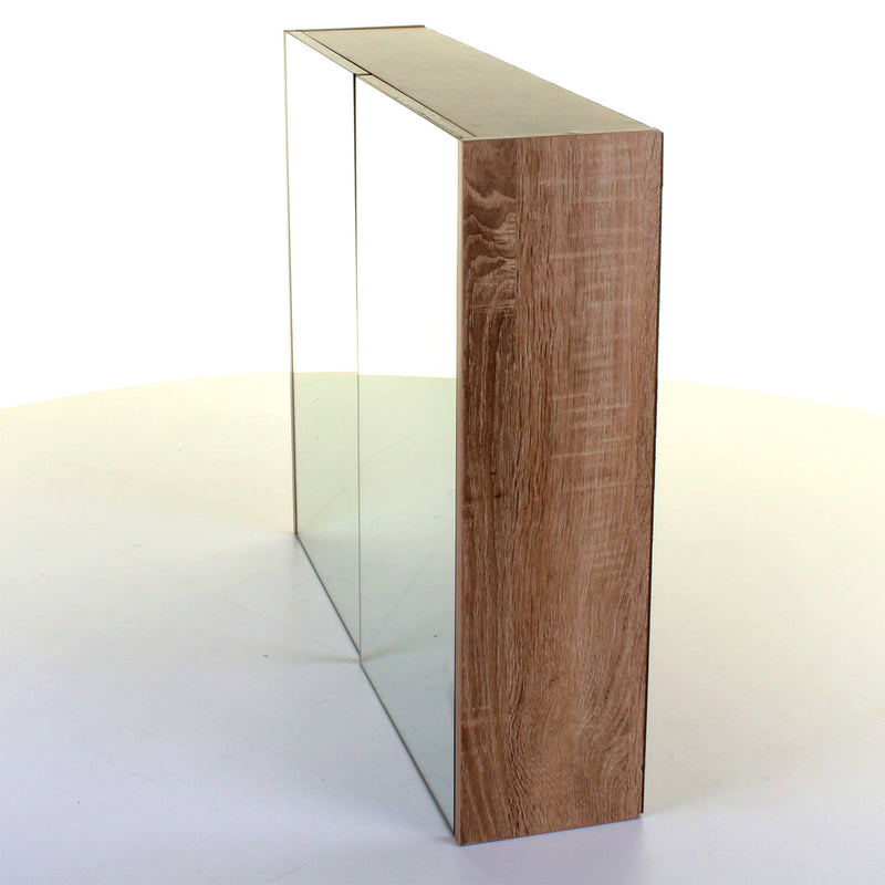 Wood Effect Mirror Wall Cabinet