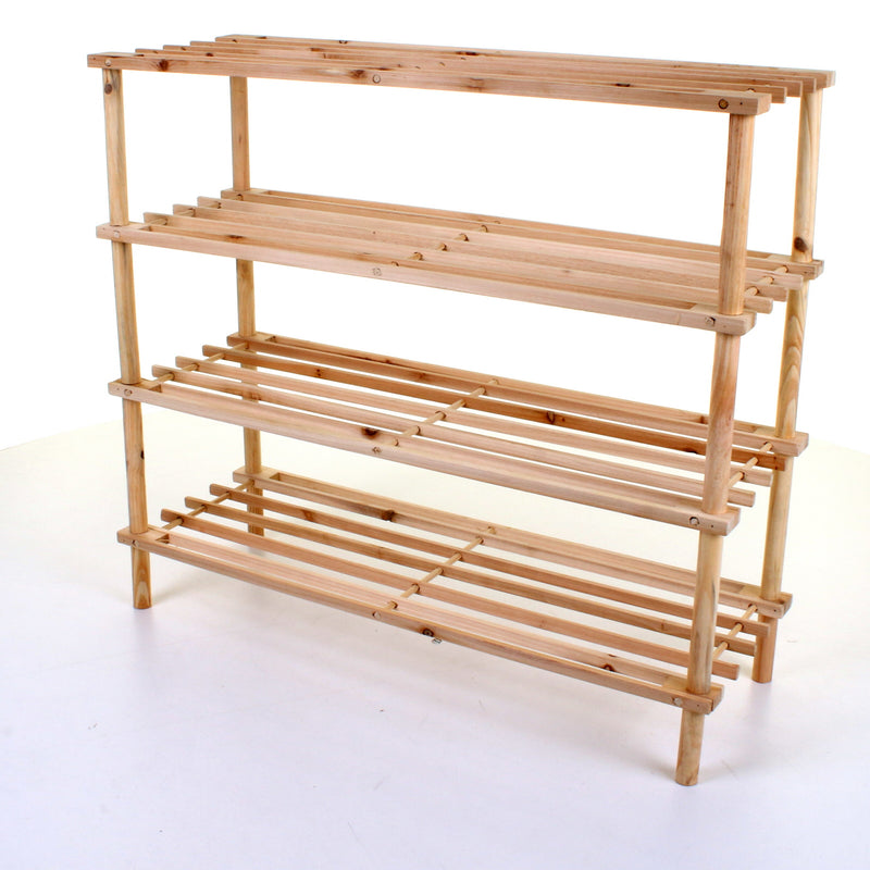 4 Tier Wooden Shoe Rack - Pine