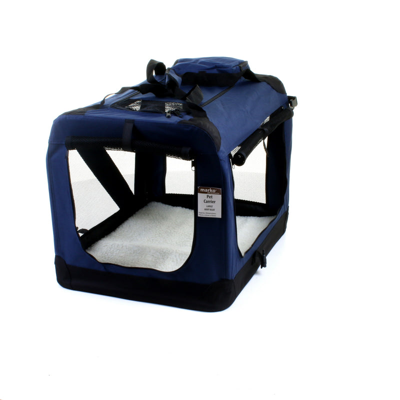 Large Fabric Pet Carrier - Navy Blue