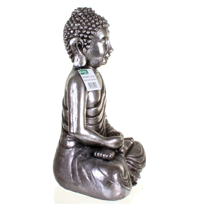 Metallic Silver Meditating Buddha