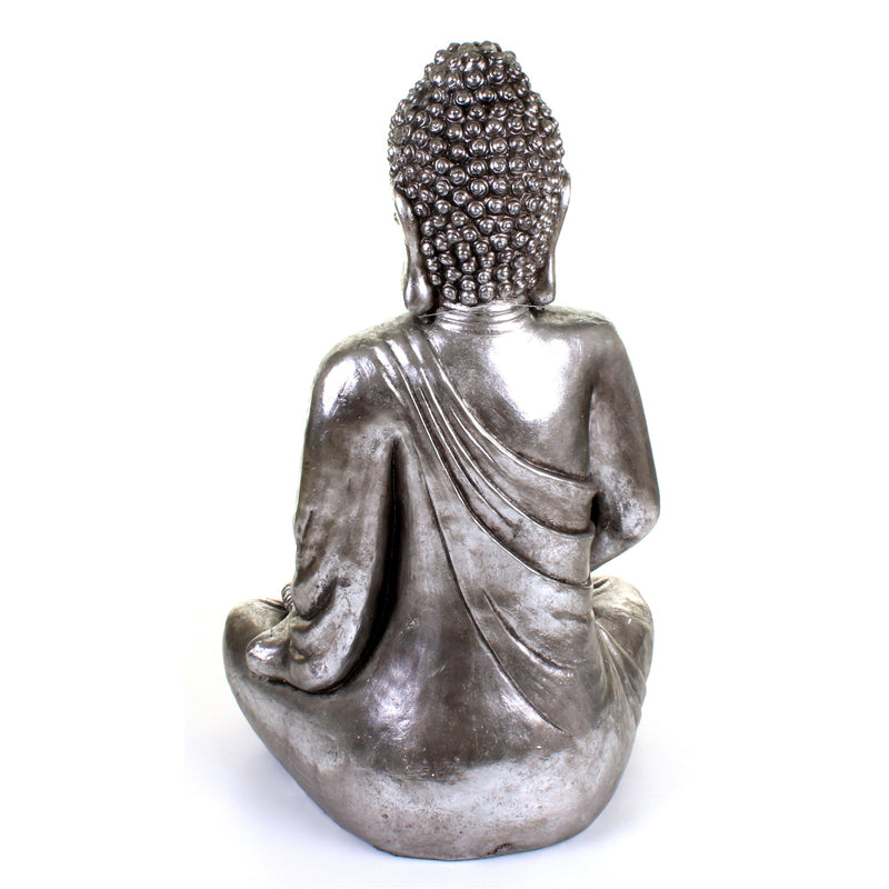 Metallic Silver Large Meditating Buddha