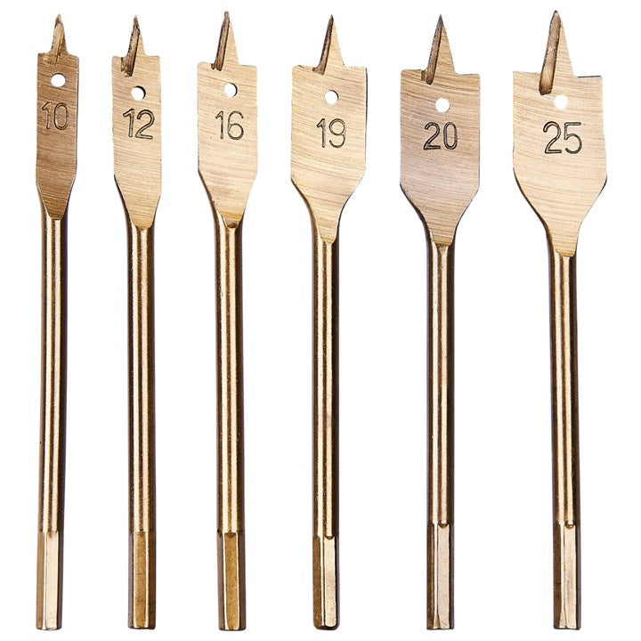 6pc Flat Wood Bit Set Titanium